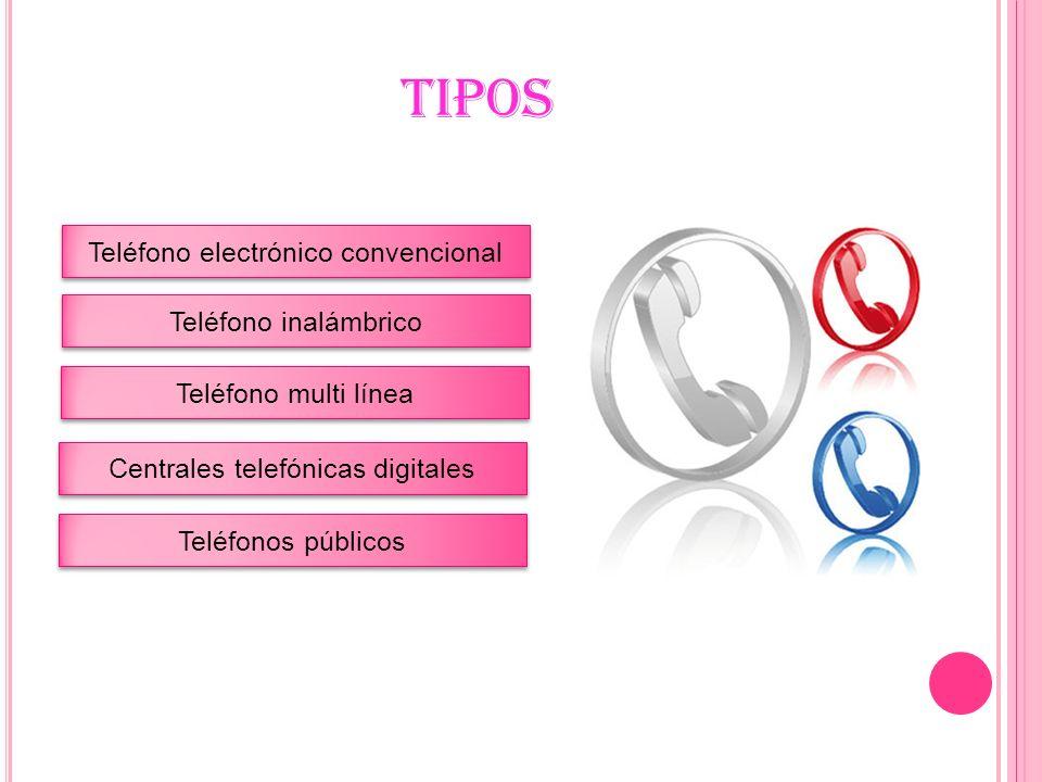 TIPOS Teléfono electrónico convencional Teléfono inalámbrico
