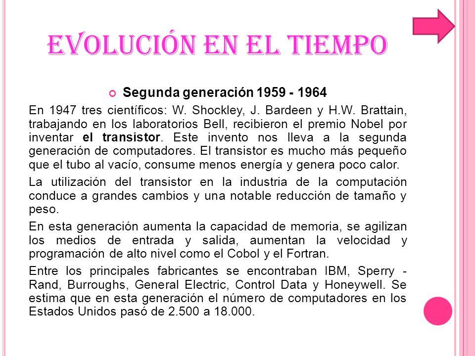 EVOLUCIÓN EN EL TIEMPO Segunda generación 1959 - 1964