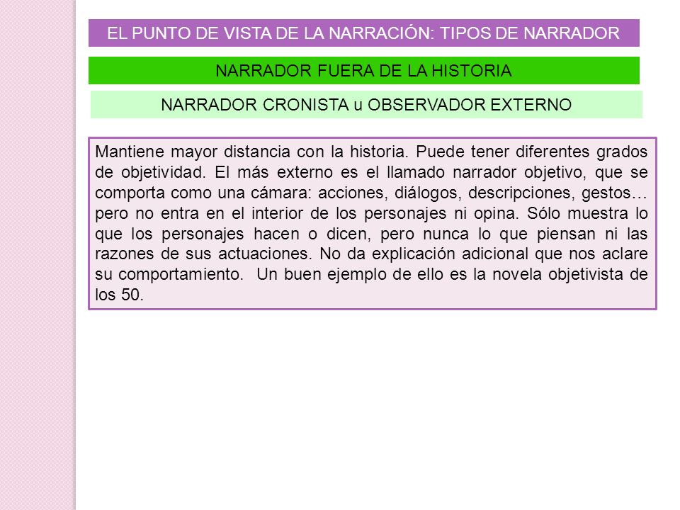 EL PUNTO DE VISTA DE LA NARRACIÓN: TIPOS DE NARRADOR