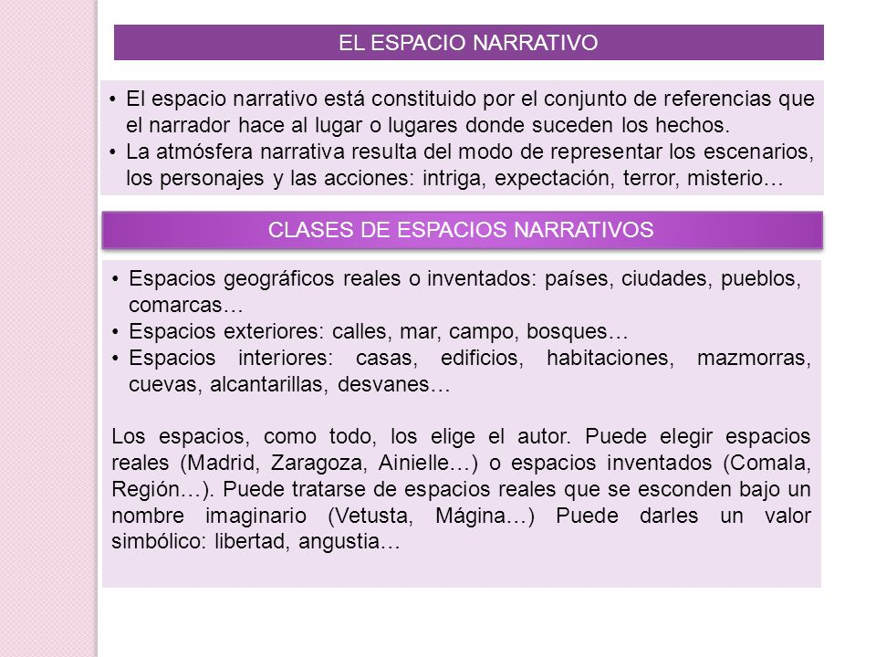 CLASES DE ESPACIOS NARRATIVOS