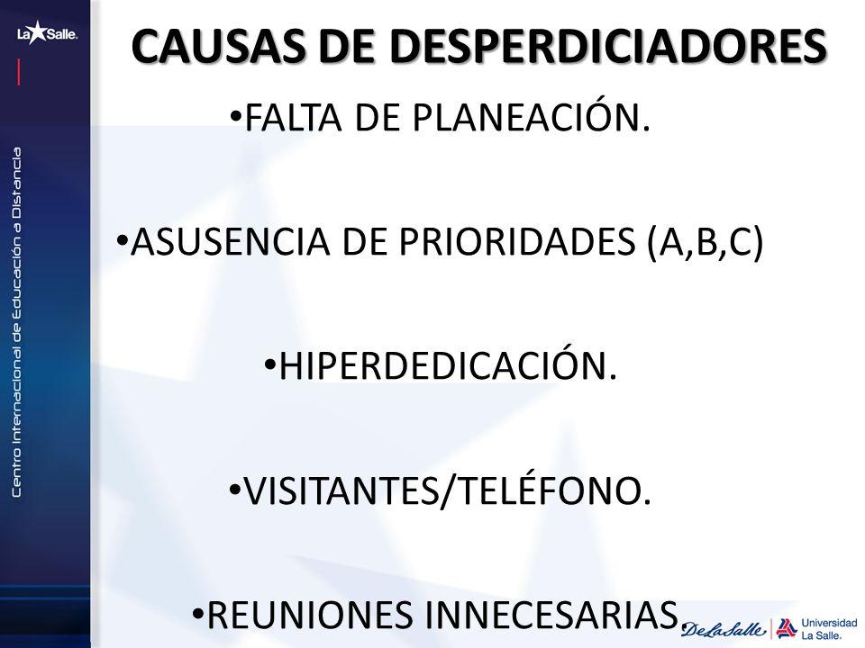 CAUSAS DE DESPERDICIADORES