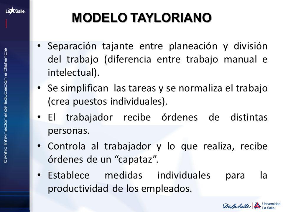 MODELO TAYLORIANO Separación tajante entre planeación y división del trabajo (diferencia entre trabajo manual e intelectual).