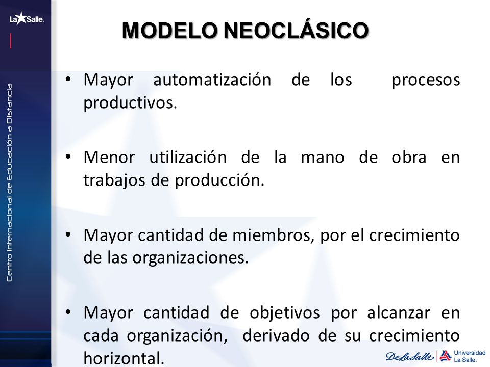 MODELO NEOCLÁSICO Mayor automatización de los procesos productivos.