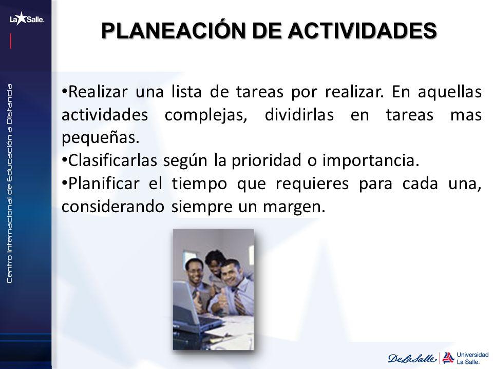 PLANEACIÓN DE ACTIVIDADES