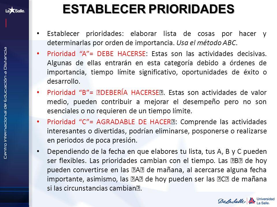 ESTABLECER PRIORIDADES