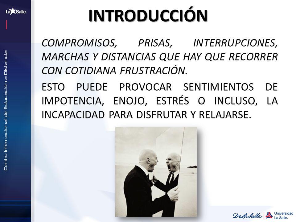 INTRODUCCIÓN COMPROMISOS, PRISAS, INTERRUPCIONES, MARCHAS Y DISTANCIAS QUE HAY QUE RECORRER CON COTIDIANA FRUSTRACIÓN.