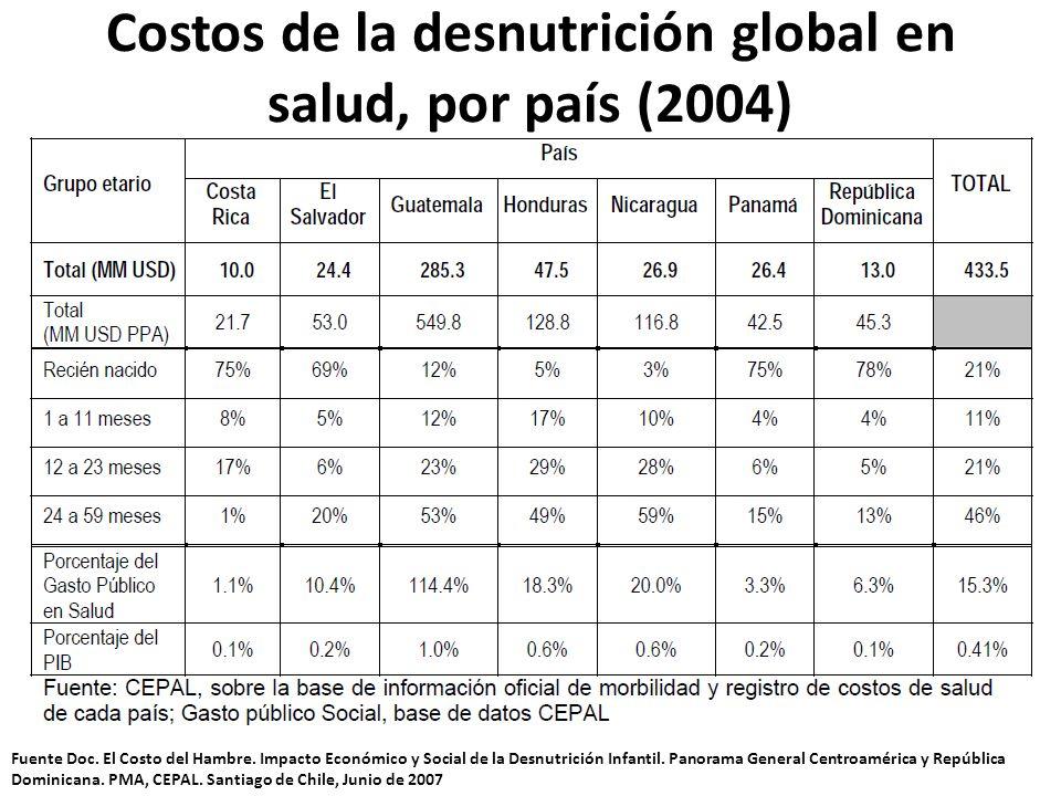 Costos de la desnutrición global en salud, por país (2004)