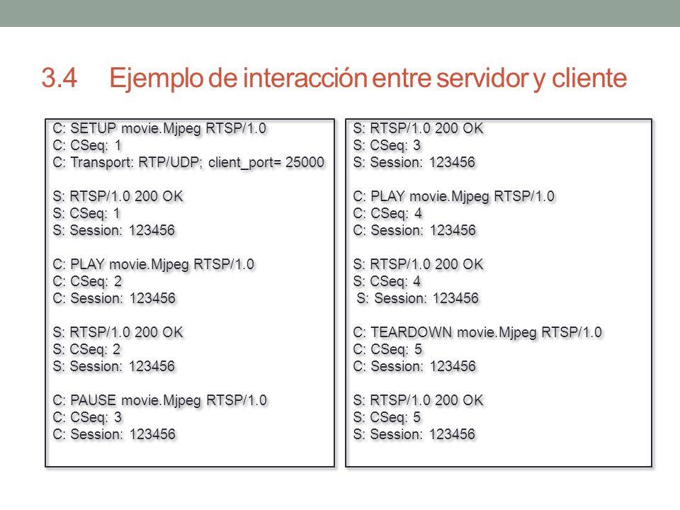 3.4 Ejemplo de interacción entre servidor y cliente