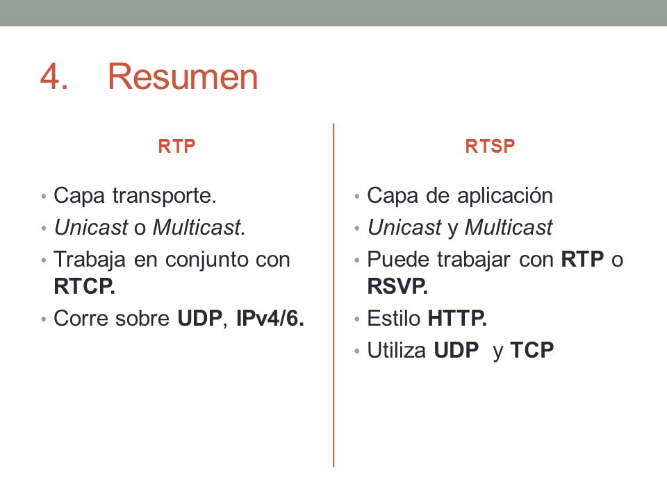 4. Resumen Capa transporte. Unicast o Multicast.