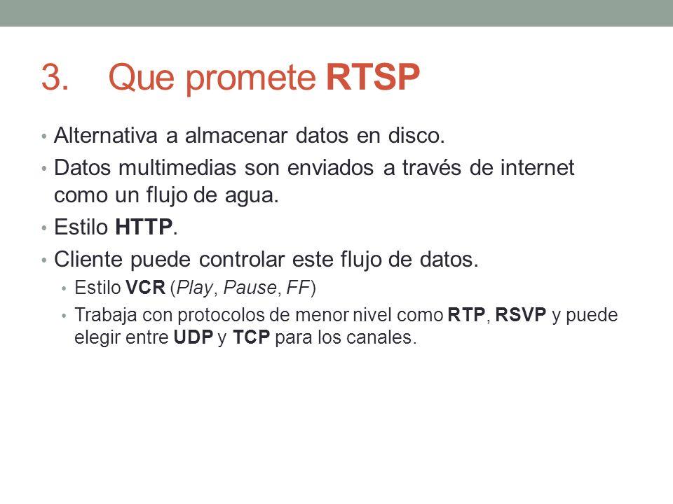 3. Que promete RTSP Alternativa a almacenar datos en disco.