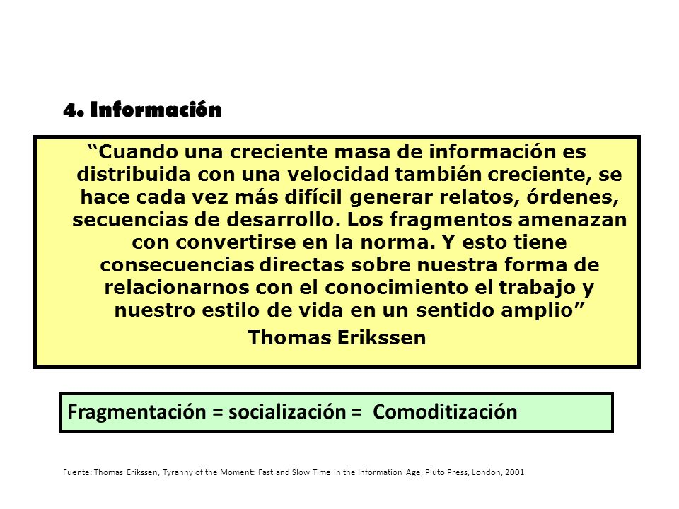 Fragmentación = socialización = Comoditización