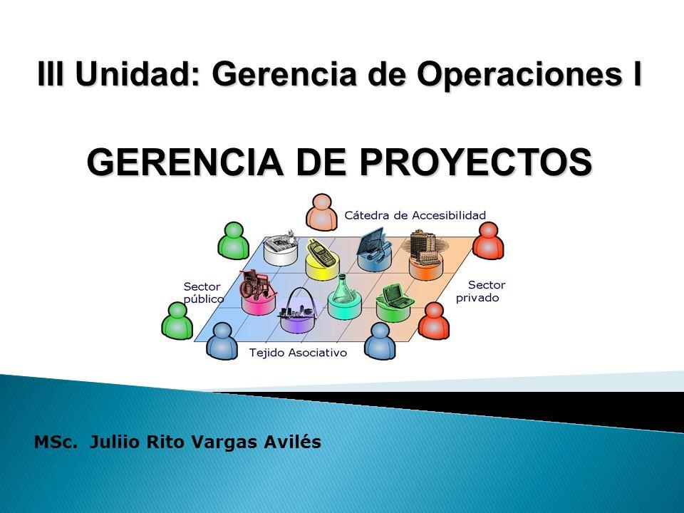 III Unidad: Gerencia de Operaciones I