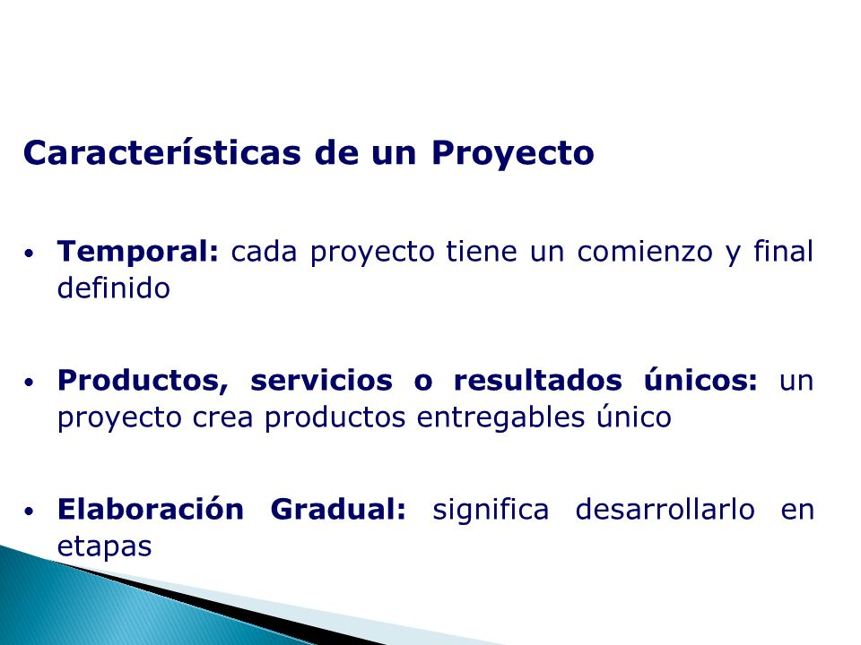 Características de un Proyecto