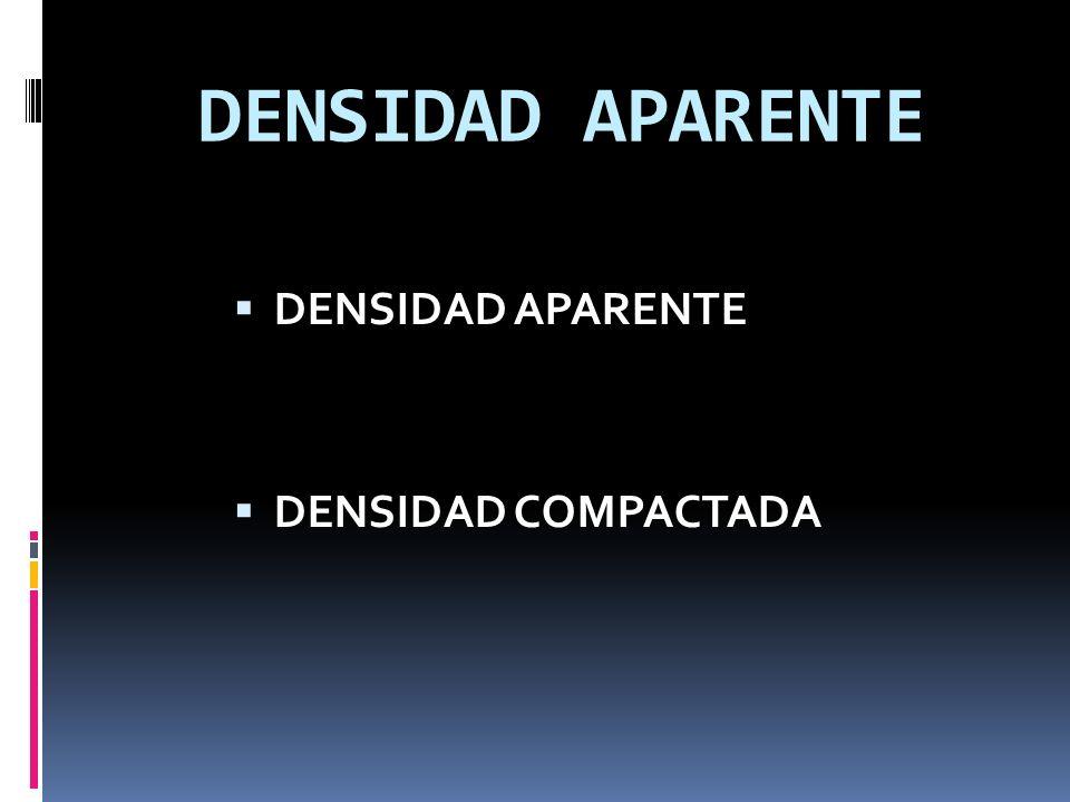 DENSIDAD APARENTE DENSIDAD APARENTE DENSIDAD COMPACTADA
