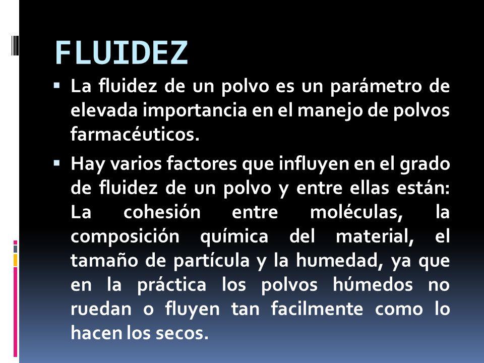 FLUIDEZ La fluidez de un polvo es un parámetro de elevada importancia en el manejo de polvos farmacéuticos.