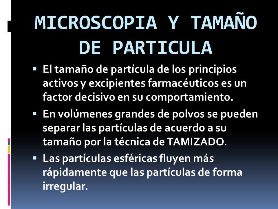 MICROSCOPIA Y TAMAÑO DE PARTICULA