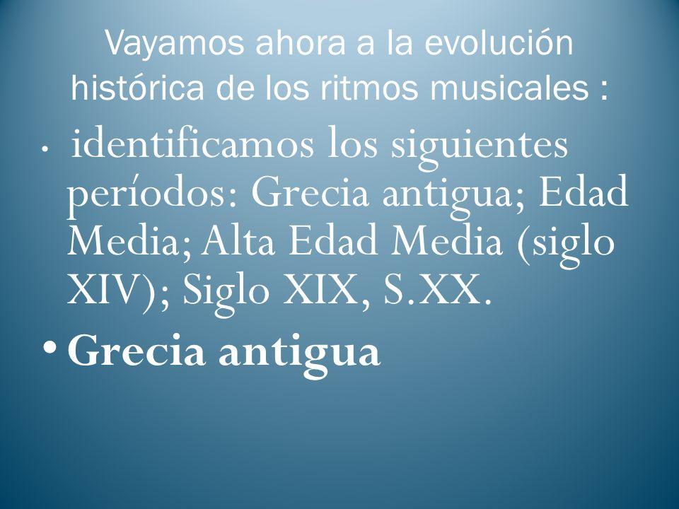 Vayamos ahora a la evolución histórica de los ritmos musicales :