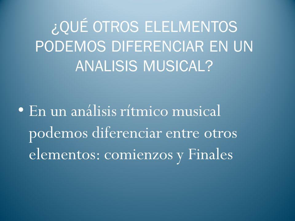 ¿QUÉ OTROS ELELMENTOS PODEMOS DIFERENCIAR EN UN ANALISIS MUSICAL