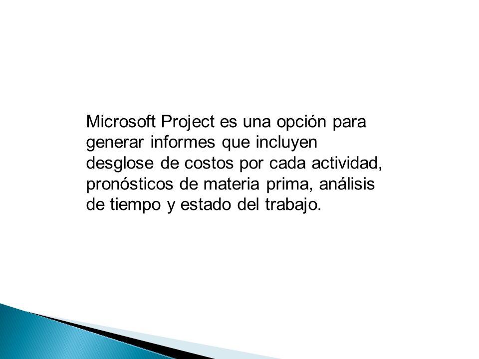 Microsoft Project es una opción para generar informes que incluyen desglose de costos por cada actividad, pronósticos de materia prima, análisis de tiempo y estado del trabajo.
