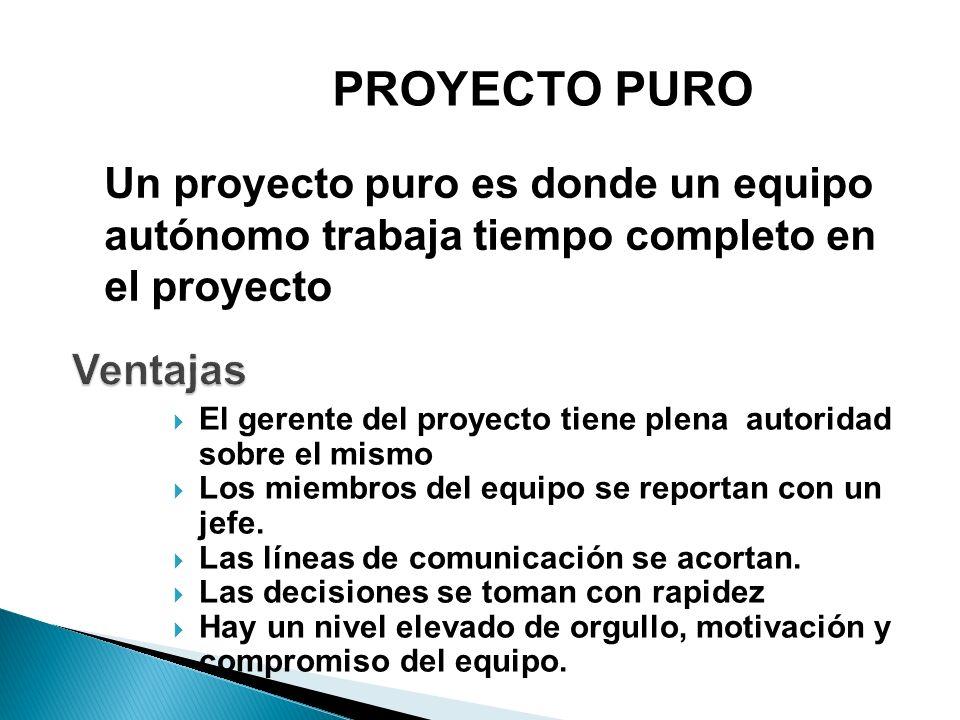 PROYECTO PURO Un proyecto puro es donde un equipo autónomo trabaja tiempo completo en el proyecto. Ventajas.