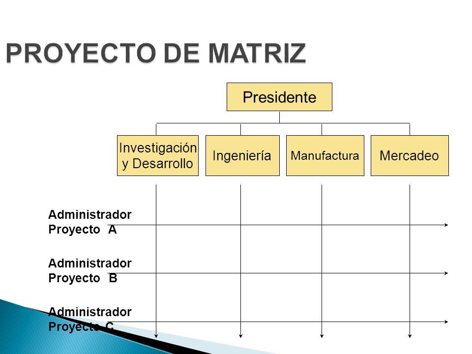 PROYECTO DE MATRIZ Presidente Investigación y Desarrollo Ingeniería