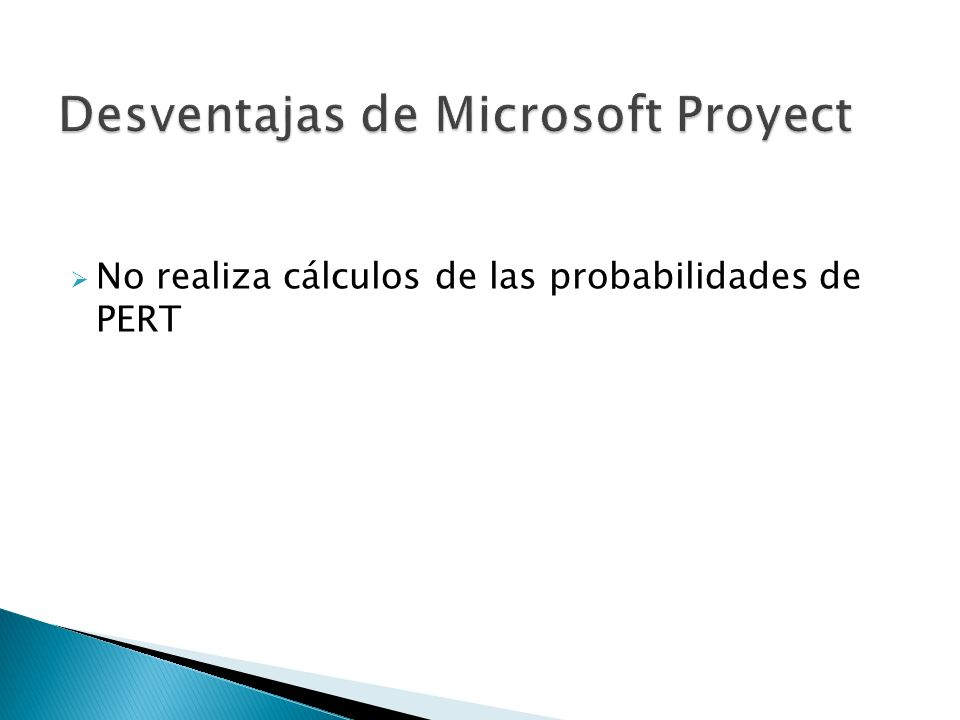 Desventajas de Microsoft Proyect