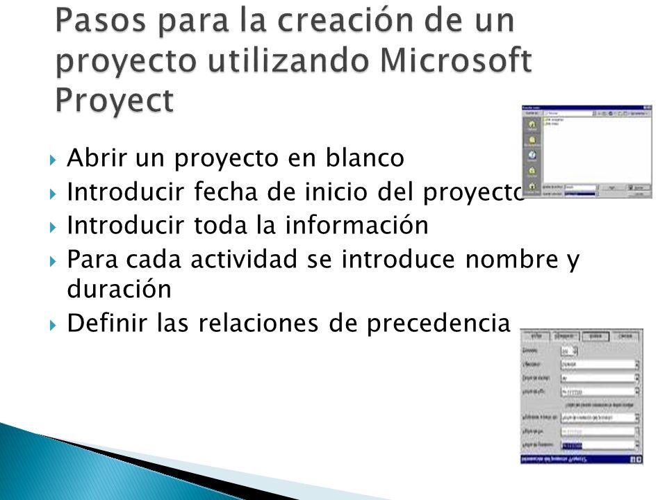 Pasos para la creación de un proyecto utilizando Microsoft Proyect
