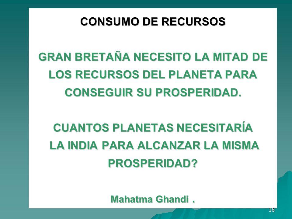 CONSUMO DE RECURSOS GRAN BRETAÑA NECESITO LA MITAD DE LOS RECURSOS DEL PLANETA PARA CONSEGUIR SU PROSPERIDAD.