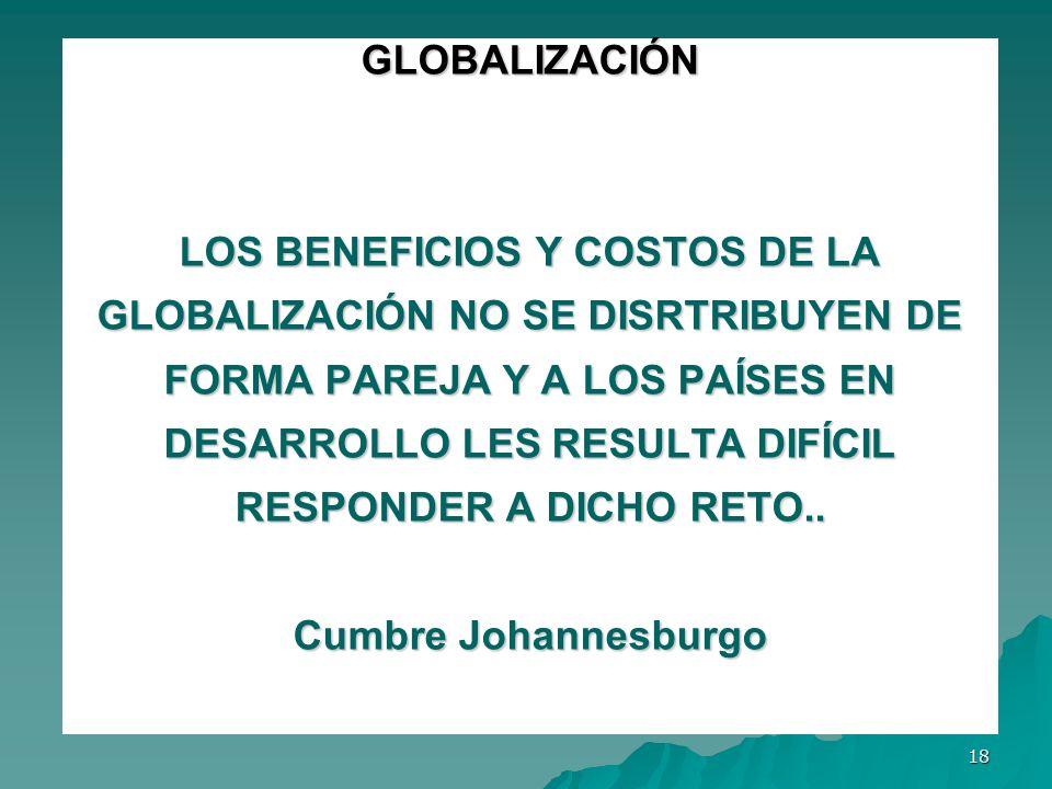GLOBALIZACIÓN LOS BENEFICIOS Y COSTOS DE LA GLOBALIZACIÓN NO SE DISRTRIBUYEN DE FORMA PAREJA Y A LOS PAÍSES EN DESARROLLO LES RESULTA DIFÍCIL RESPONDER A DICHO RETO..