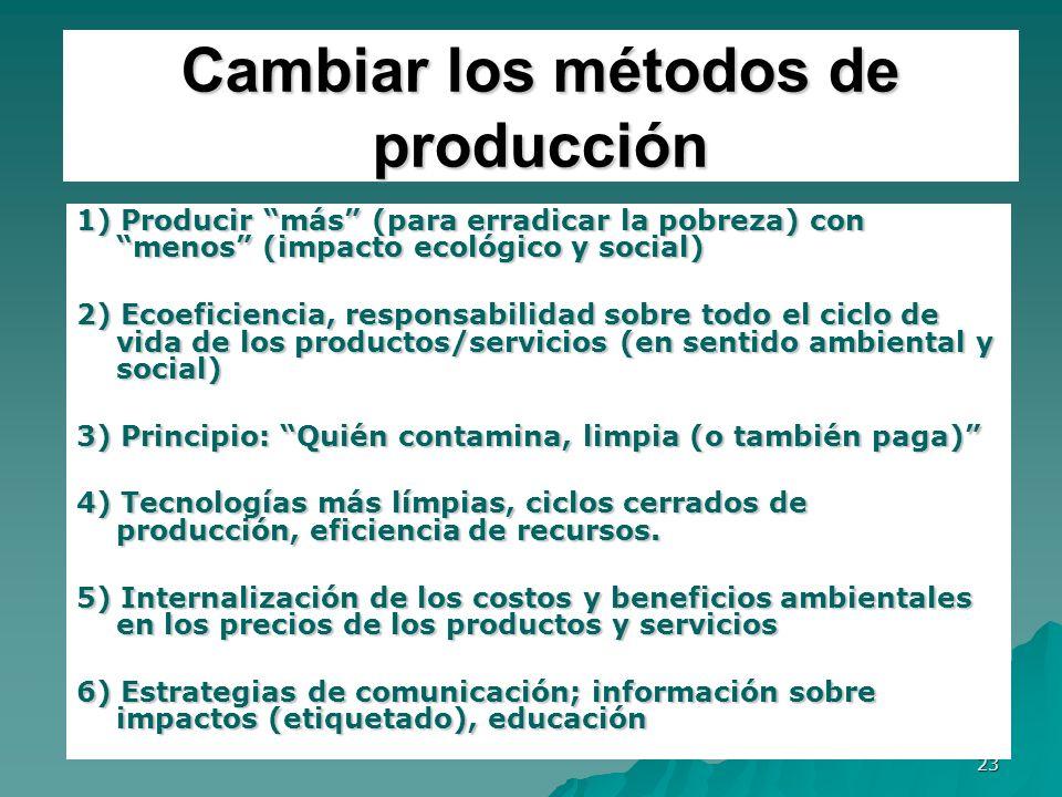 Cambiar los métodos de producción