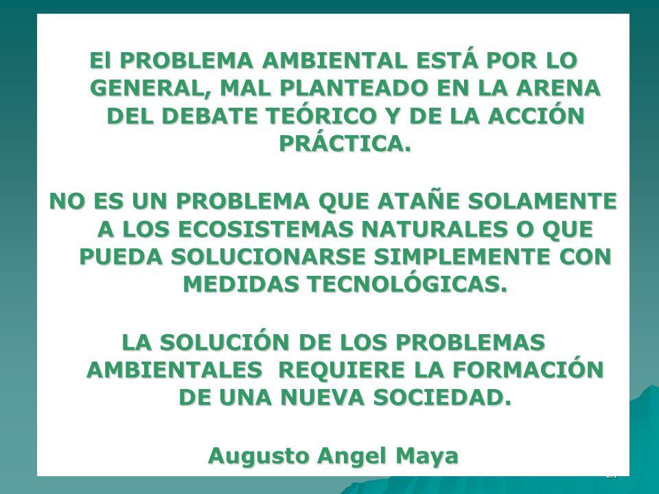 El PROBLEMA AMBIENTAL ESTÁ POR LO GENERAL, MAL PLANTEADO EN LA ARENA DEL DEBATE TEÓRICO Y DE LA ACCIÓN PRÁCTICA.