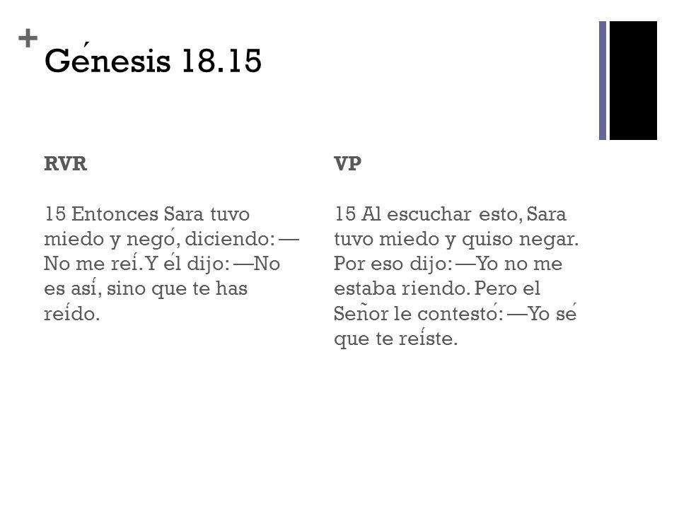 Génesis 18.15 RVR 15 Entonces Sara tuvo miedo y negó, diciendo: —No me reí. Y él dijo: —No es así, sino que te has reído.
