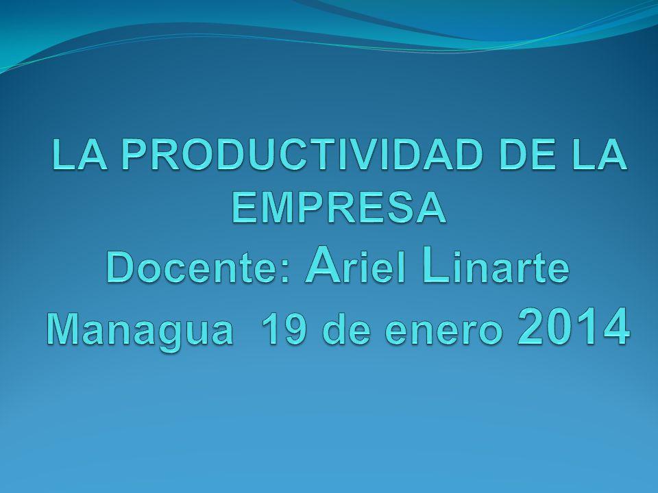 LA PRODUCTIVIDAD DE LA EMPRESA Docente: Ariel Linarte Managua 19 de enero 2014
