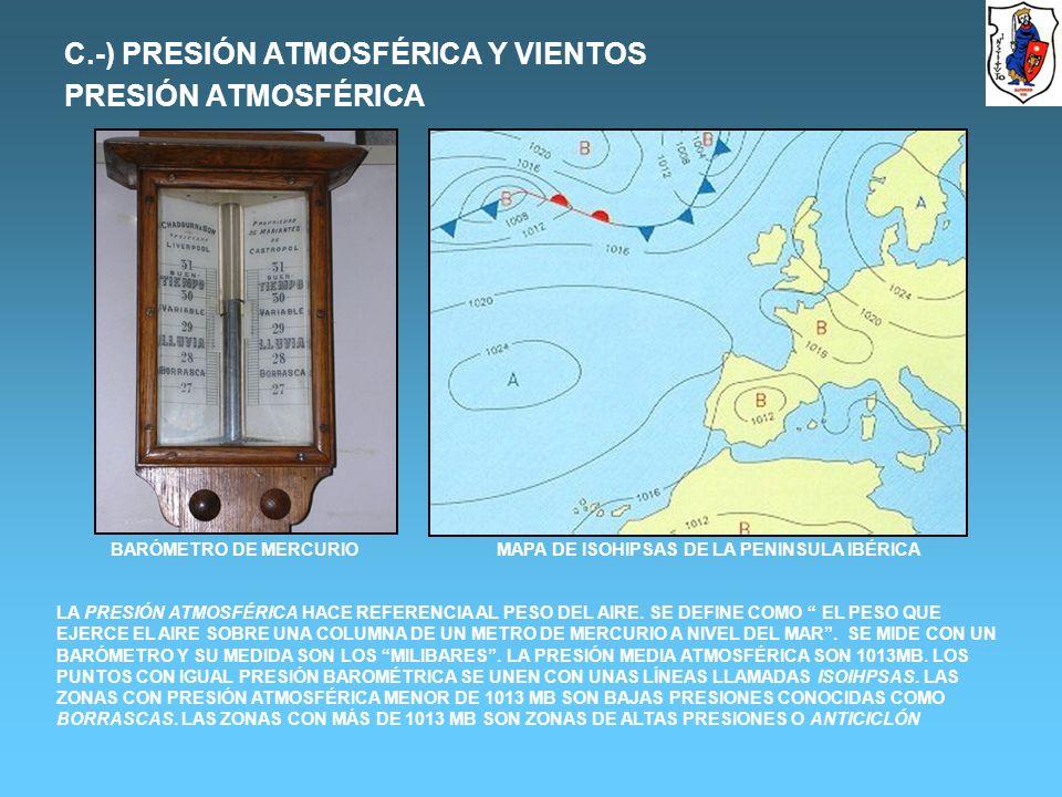 C.-) PRESIÓN ATMOSFÉRICA Y VIENTOS PRESIÓN ATMOSFÉRICA