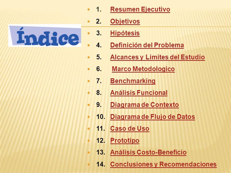 1. Resumen Ejecutivo 2. Objetivos. 3. Hipótesis. 4. Definición del Problema. 5. Alcances y Limites del Estudio.