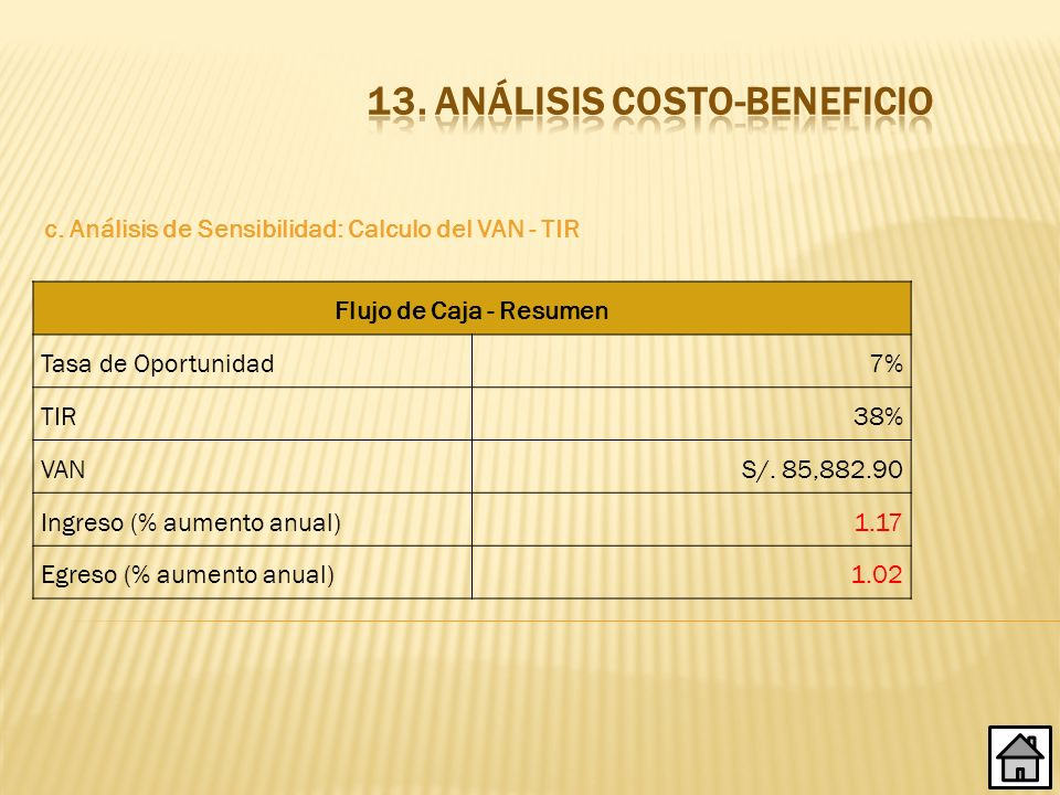 13. ANÁLISIS COSTO-BENEFICIO