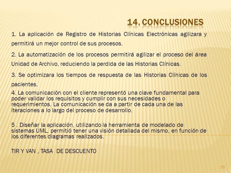 14. CONCLUSIONES 1. La aplicación de Registro de Historias Clínicas Electrónicas agilizara y permitirá un mejor control de sus procesos.