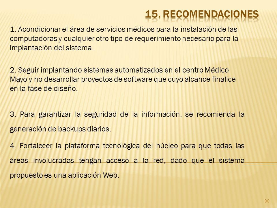 15. RECOMENDACIONES