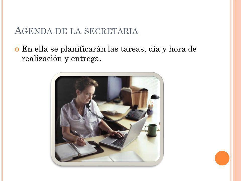 Agenda de la secretaria