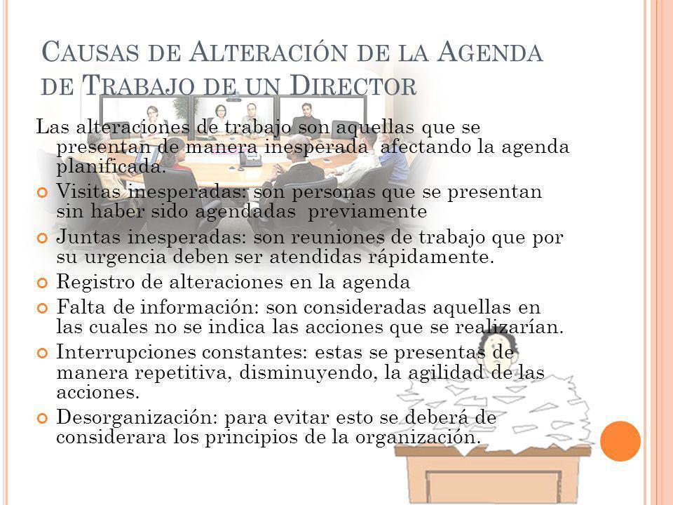Causas de Alteración de la Agenda de Trabajo de un Director
