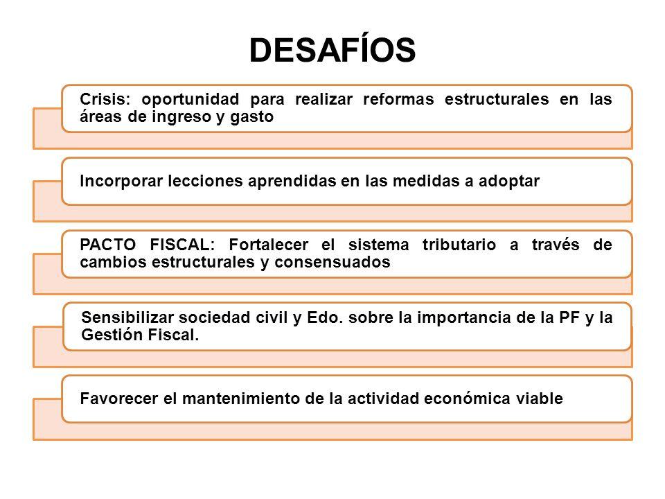 DESAFÍOS Crisis: oportunidad para realizar reformas estructurales en las áreas de ingreso y gasto.