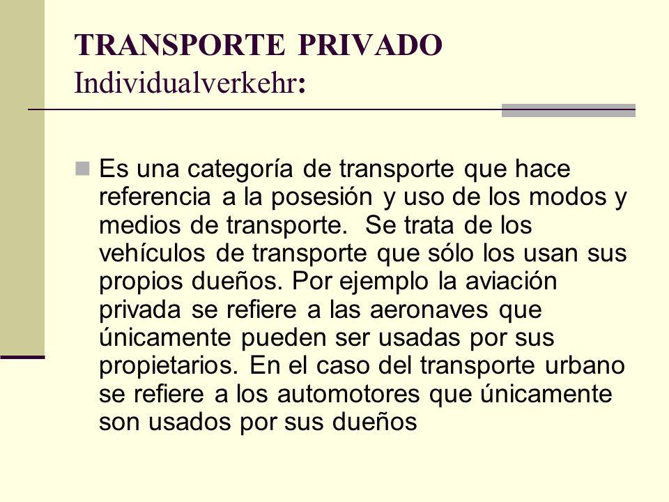 TRANSPORTE PRIVADO Individualverkehr: