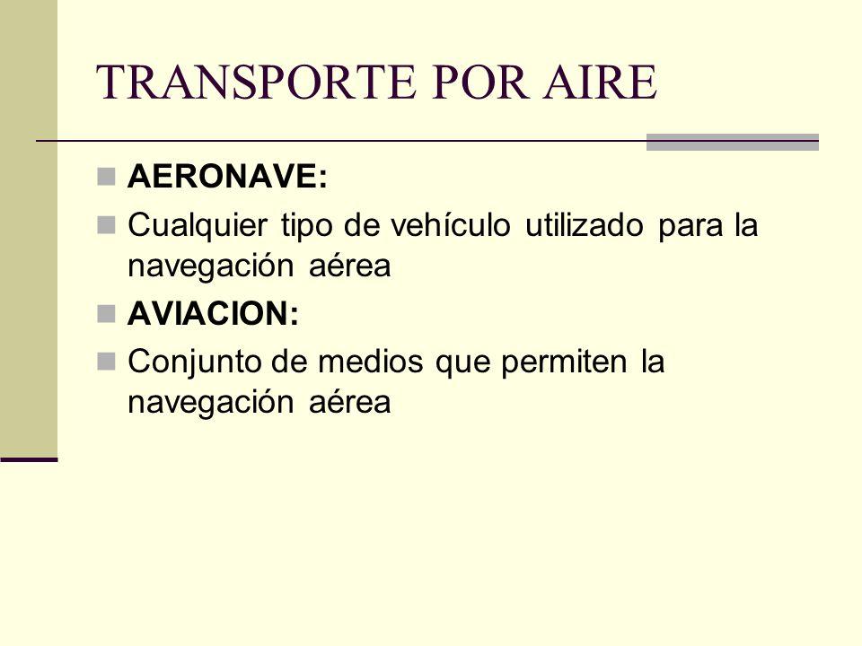 TRANSPORTE POR AIRE AERONAVE: