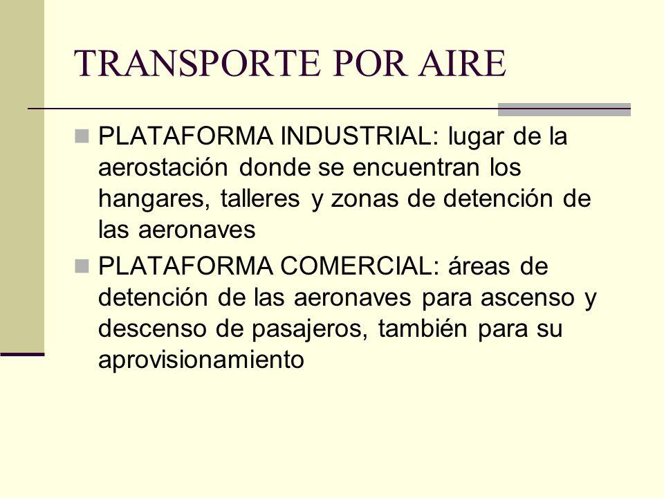 TRANSPORTE POR AIRE PLATAFORMA INDUSTRIAL: lugar de la aerostación donde se encuentran los hangares, talleres y zonas de detención de las aeronaves.