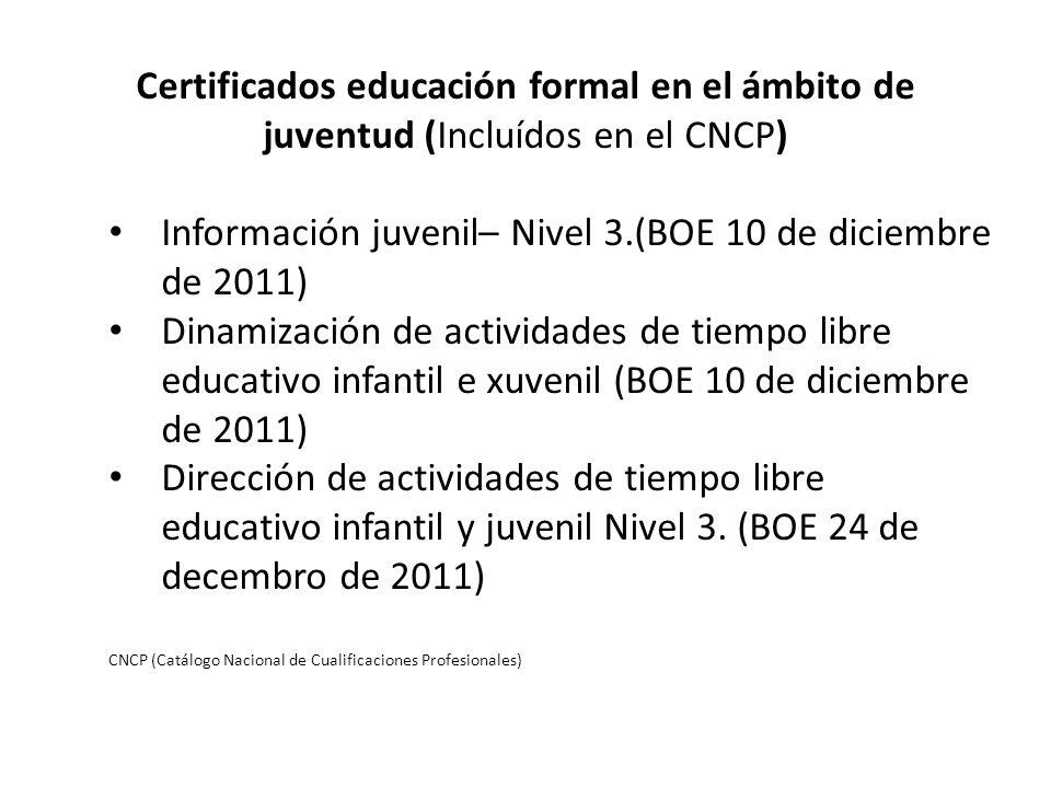 Información juvenil– Nivel 3.(BOE 10 de diciembre de 2011)