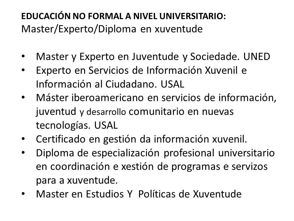 Master/Experto/Diploma en xuventude