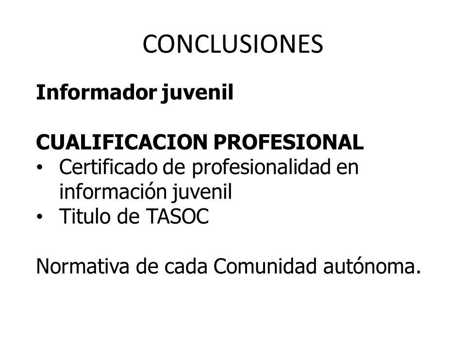 CONCLUSIONES Informador juvenil CUALIFICACION PROFESIONAL