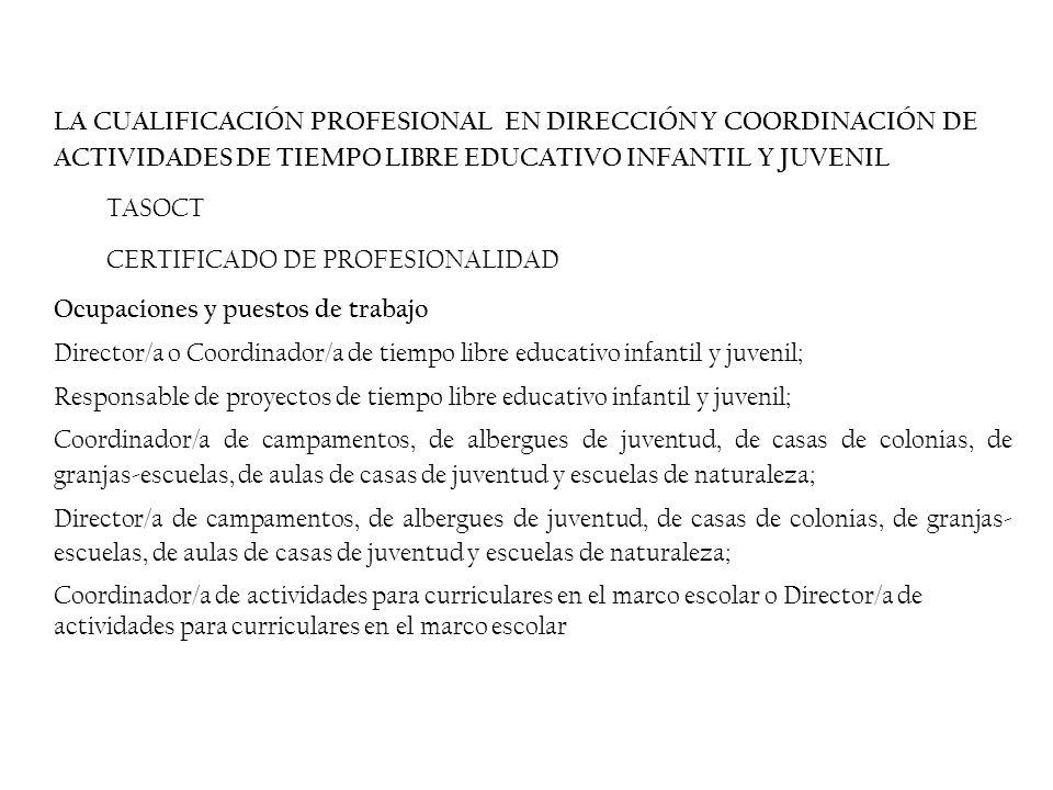 LA CUALIFICACIÓN PROFESIONAL EN DIRECCIÓN Y COORDINACIÓN DE ACTIVIDADES DE TIEMPO LIBRE EDUCATIVO INFANTIL Y JUVENIL