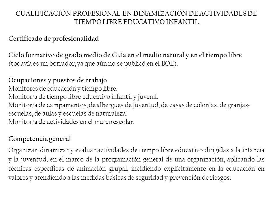 CUALIFICACIÓN PROFESIONAL EN DINAMIZACIÓN DE ACTIVIDADES DE TIEMPO LIBRE EDUCATIVO INFANTIL