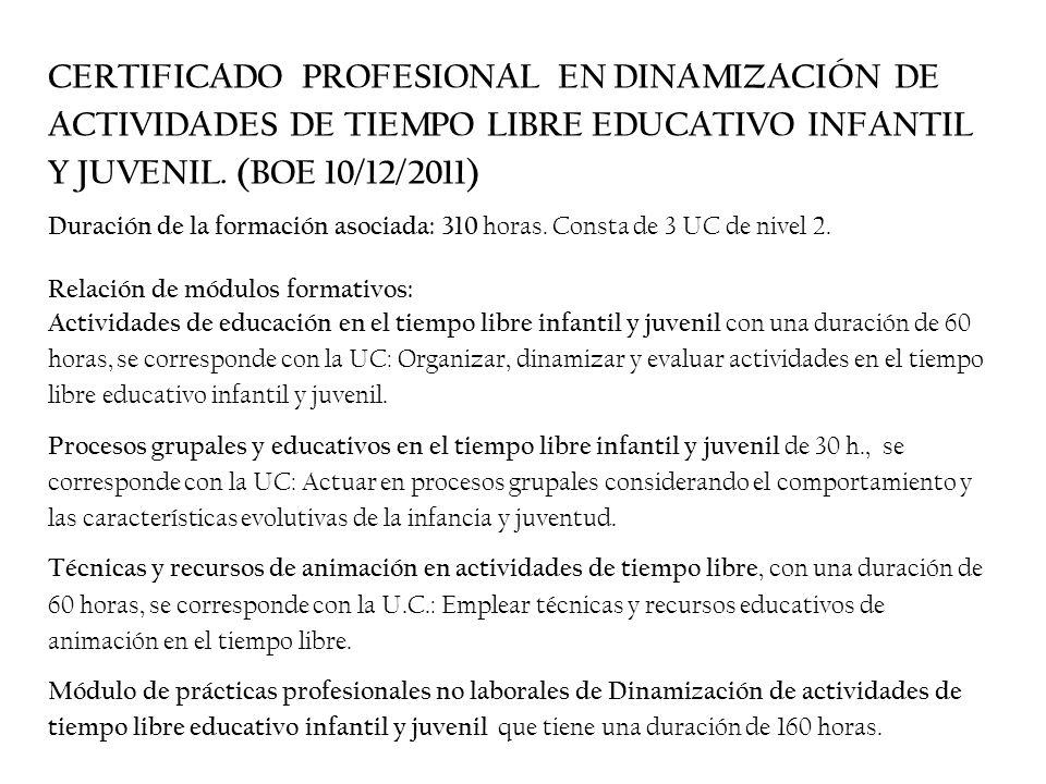 CERTIFICADO PROFESIONAL EN DINAMIZACIÓN DE ACTIVIDADES DE TIEMPO LIBRE EDUCATIVO INFANTIL Y JUVENIL. (BOE 10/12/2011)